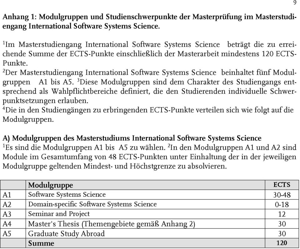 2 Der Masterstudiengang International Software Systems Science beinhaltet fünf Modulgruppen A1 bis A5.
