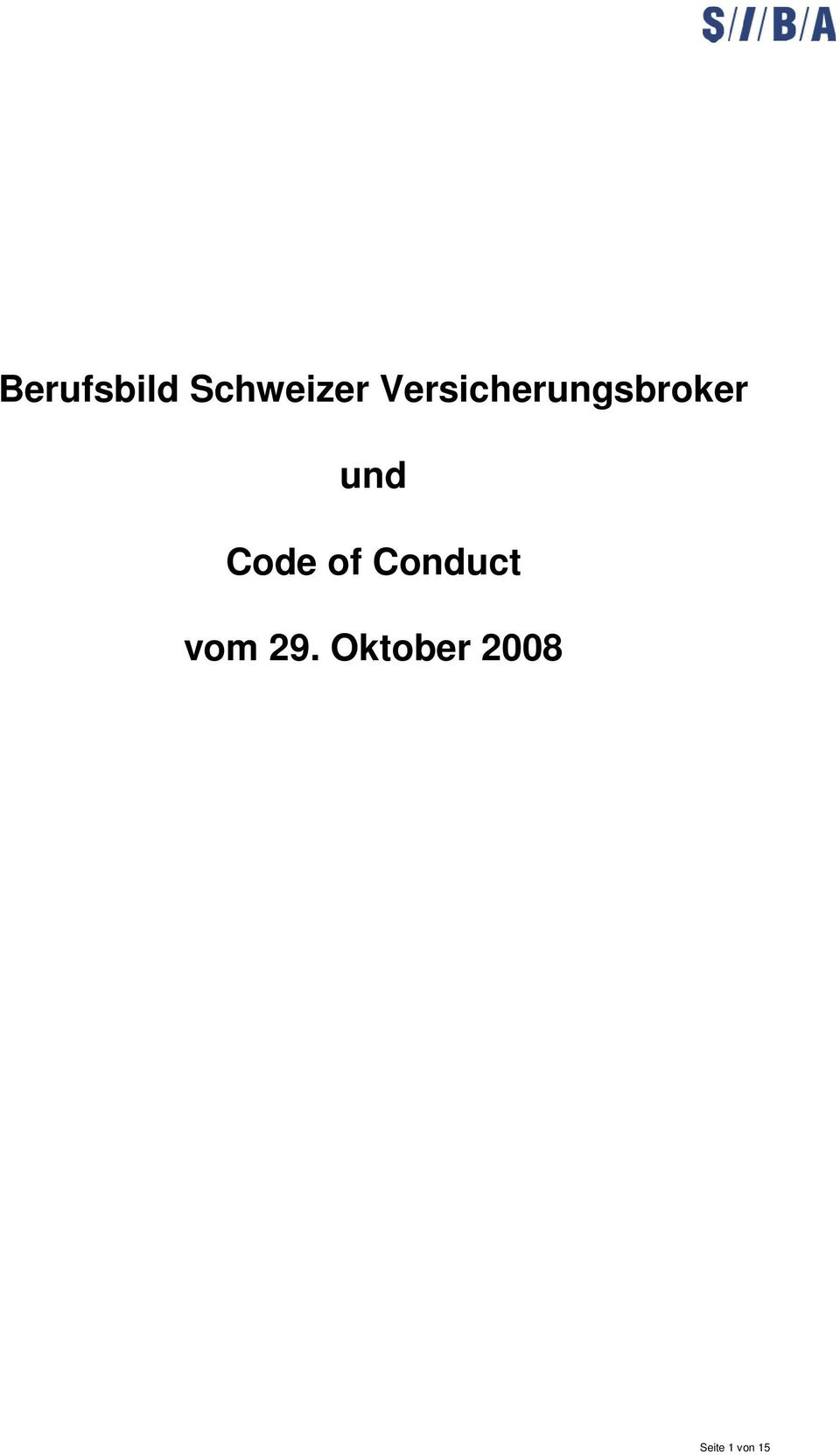 Code of Conduct vom 29.