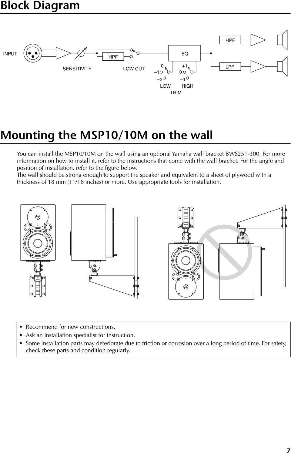 The wall should be strong enough to support the speaker and equivalent to a sheet of plywood with a thickness of 18 mm (11/16 inches) or more. Use appropriate tools for installation.