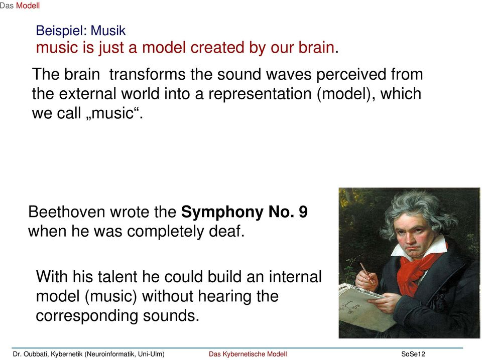 representation (model), which we call music. Beethoven wrote the Symphony No.