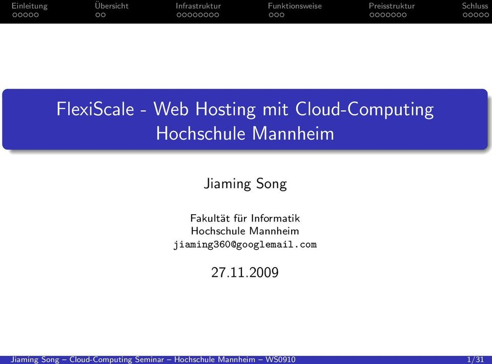 .. FlexiScale - Web Hosting mit Cloud-Computing Hochschule