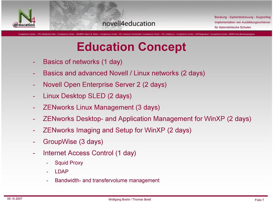 Application Management forwinxp (2 days) - ZENworks Imaging and Setup for WinXP (2 days) - GroupWise (3 days) - Internet
