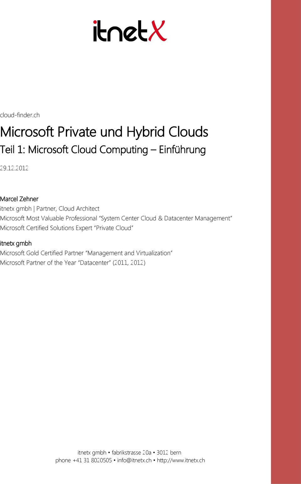 Center Cloud & Datacenter Management Microsoft Certified Solutions Expert Private Cloud itnetx gmbh