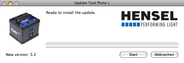 Manual for software update // Porty L 600 / Porty L 1200 5) If the generator has not been connected to the computer yet, or is not switched to the update mode, you will see the window above.