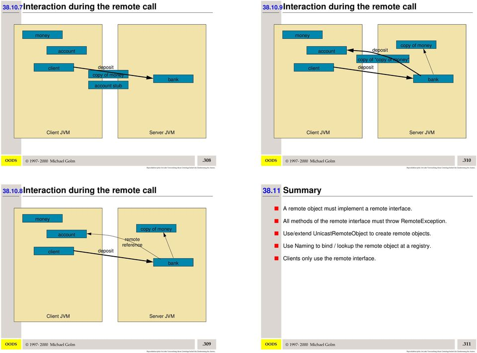 11 Summary A remote object must implement a remote interface.
