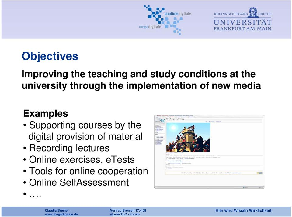 Supporting courses by the digital provision of material Recording