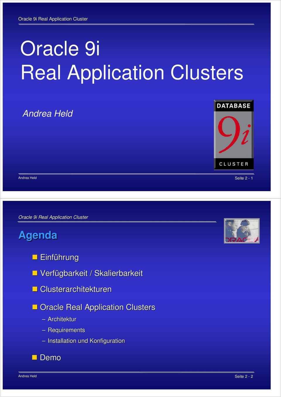 Clusterarchitekturen Oracle Real Application Clusters