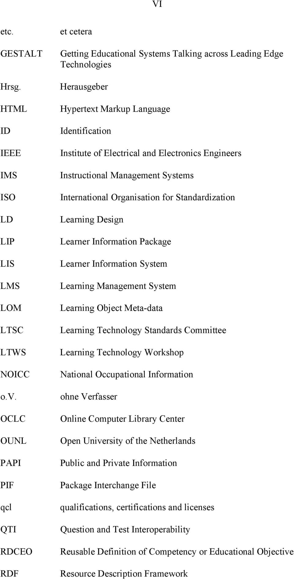 Electronics Engineers Instructional Management Systems International Organisation for Standardization Learning Design Learner Information Package Learner Information System Learning Management System