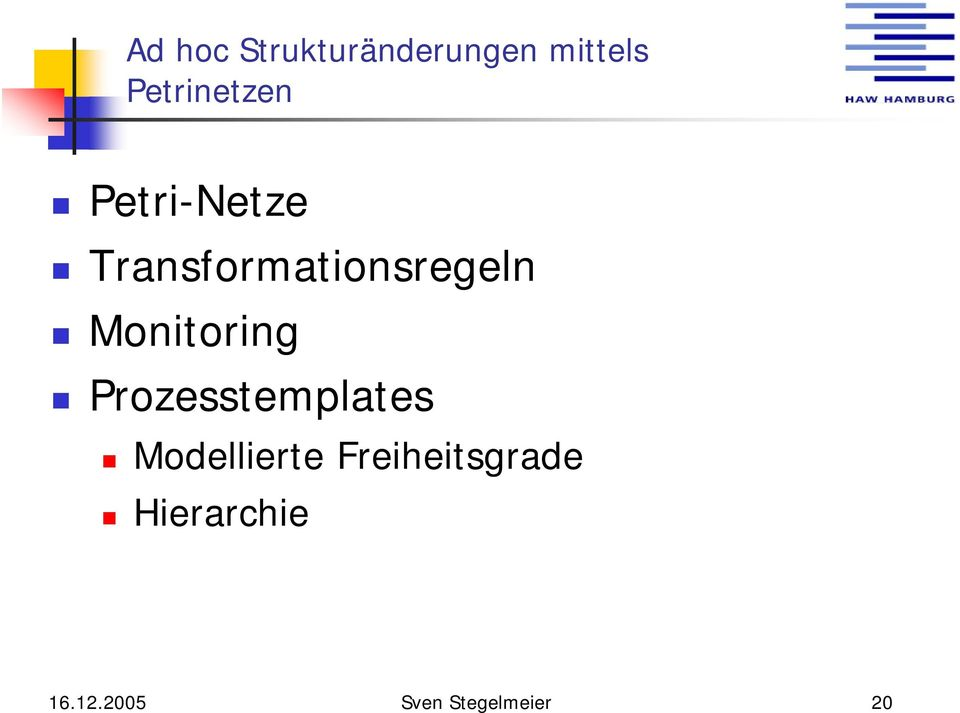 Transformationsregeln Monitoring