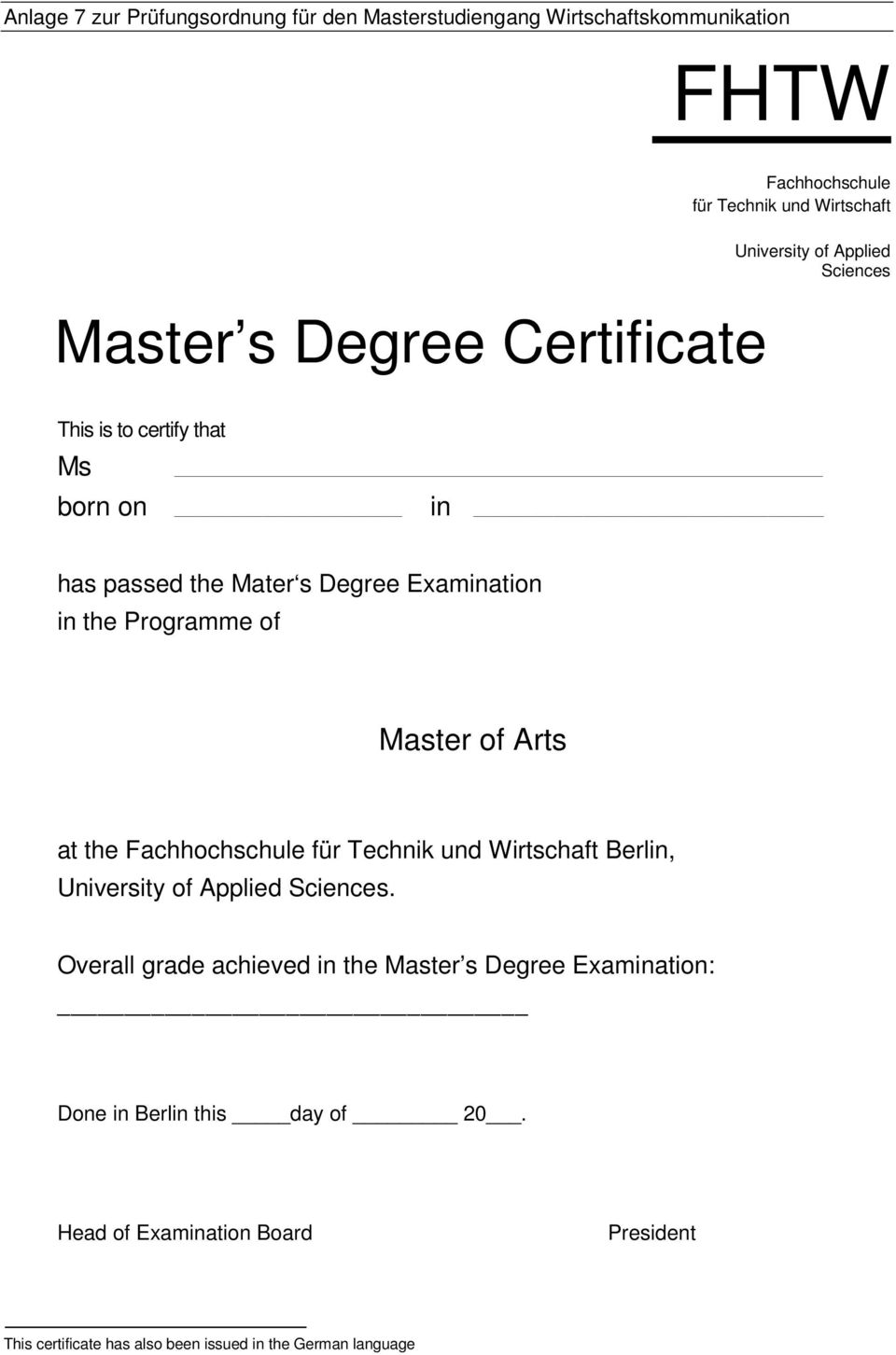 Programme of Master of Arts at the Berlin,.