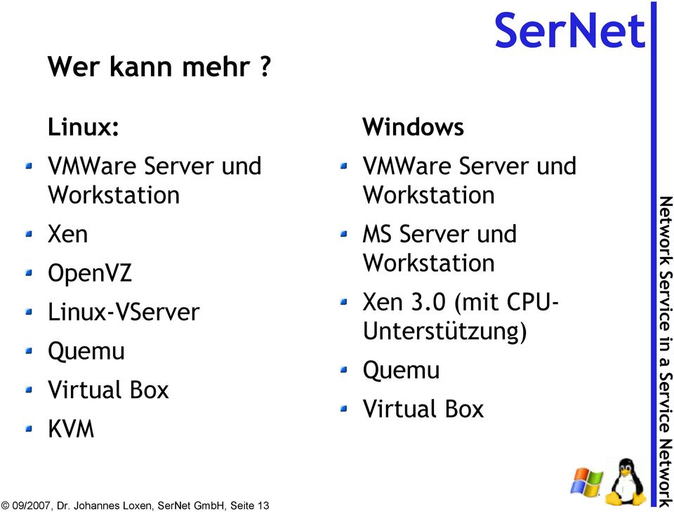 Quemu Virtual Box KVM 09/2007, Dr.