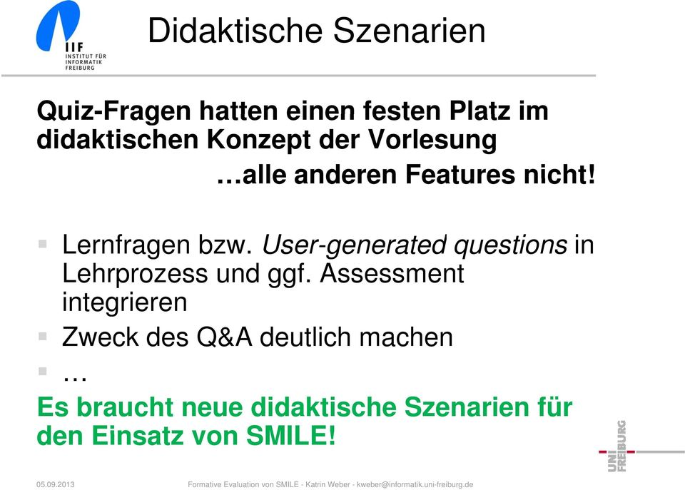 User-generated questions in Lehrprozess und ggf.