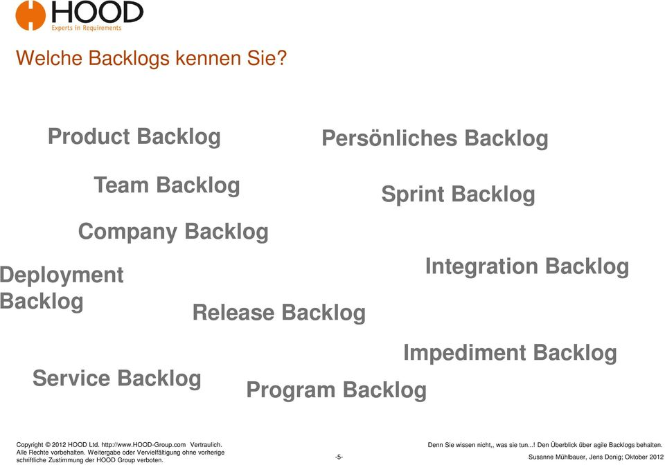 Backlog Team Backlog Company Backlog Release Backlog
