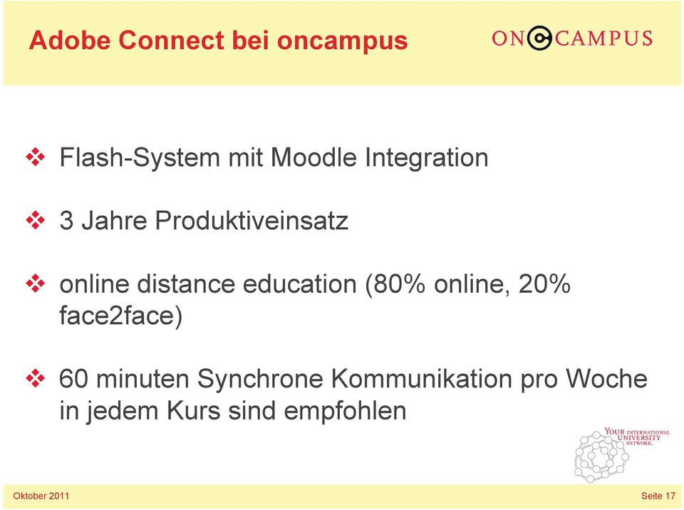 education (80% online, 20% face2face) 60 minuten Synchrone