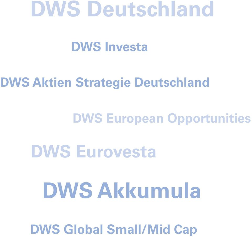European Opportunities DWS