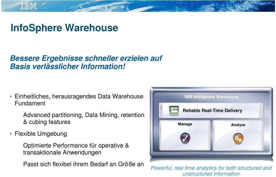 Flexible Umgebung IBM InfoSphere Warehouse Reliable Real-Time Delivery Manage Analyze Optimierte Performance für operative