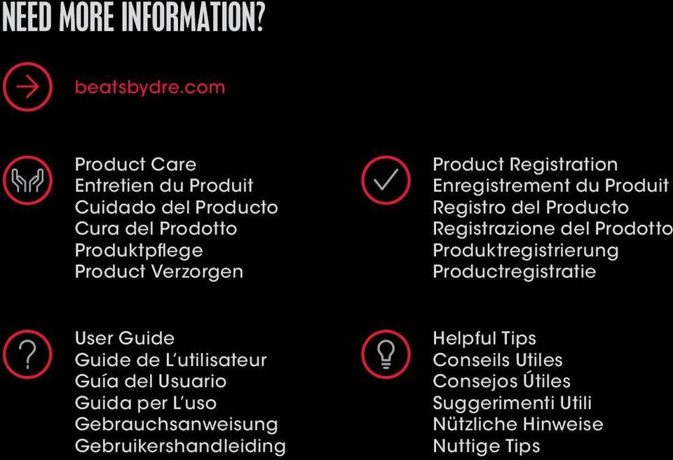 Registration Enregistrement du Produit Registro del Producto Registrazione del Prodotto Produktregistrierung