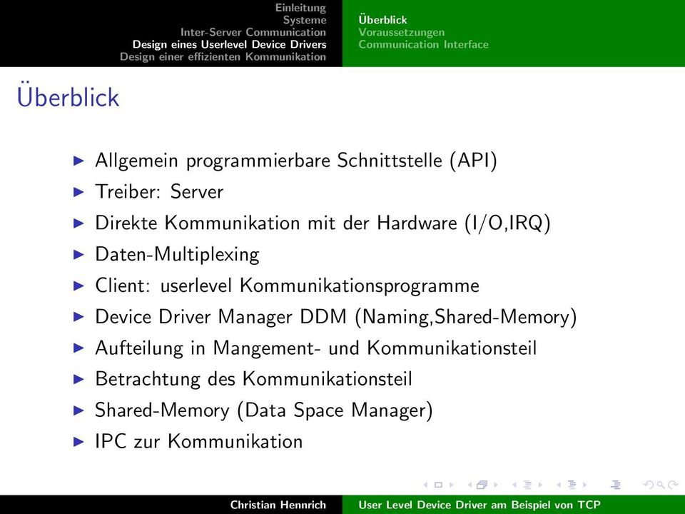 userlevel Kommunikationsprogramme Device Driver Manager DDM (Naming,Shared-Memory) Aufteilung in