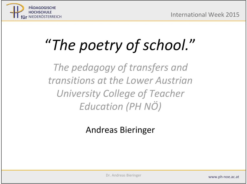 The pedagogy of transfers and transitions