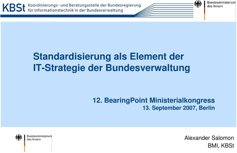 BearingPoint Ministerialkongress 13.
