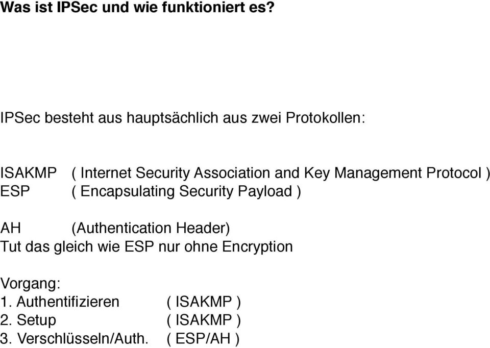 Association and Key Management Protocol ) ESP ( Encapsulating Security Payload ) AH