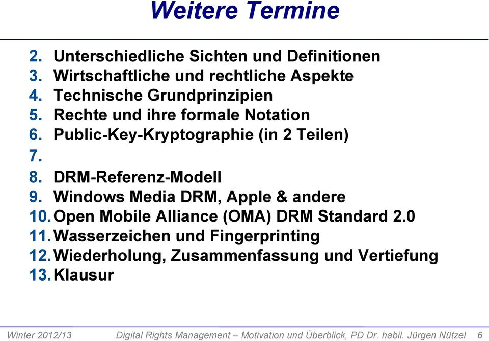 DRM-Referenz-Modell 9. Windows Media DRM, Apple & andere 10. Open Mobile Alliance (OMA) DRM Standard 2.0 11.