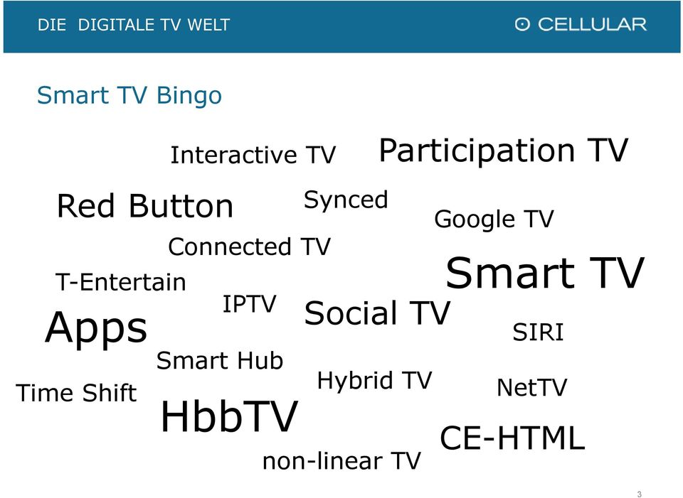 Smart Hub HbbTV Synced Social TV Hybrid TV non-linear