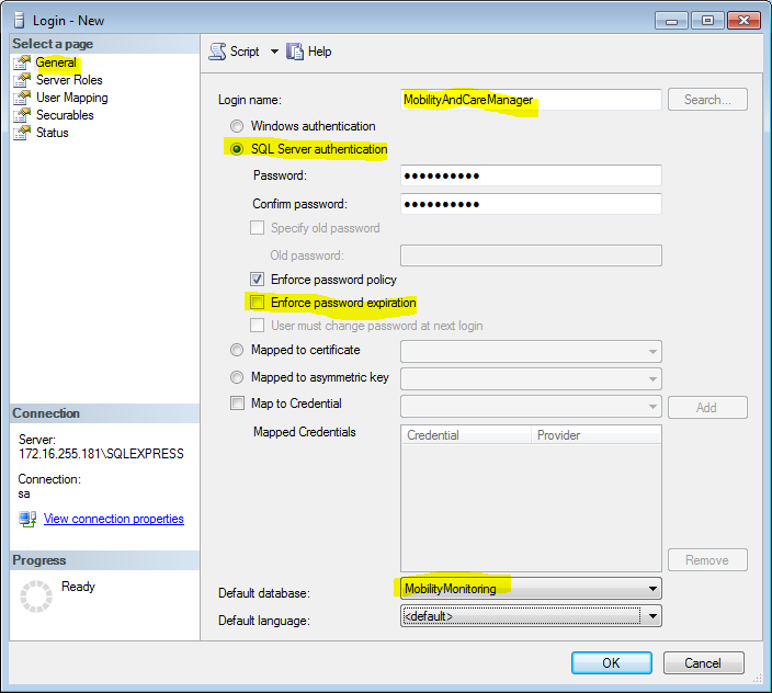 MobilityAndCareManager Option SQL Server authentication und