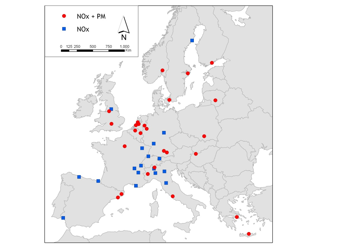 Ongoing European Multi-center Study Existing cohort studies Spatial variability of air pollution based on GIS*