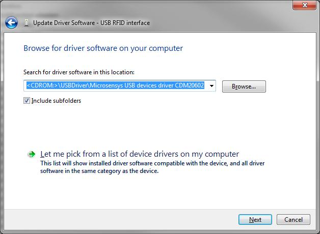 Manual driver installation / Manuelle Treiberinstallation USB device drivers may be installed from local sources or from microsensys download area as well.