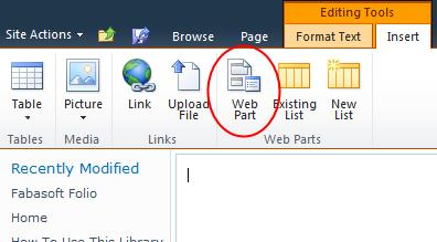 4. On the Editing Tools > Insert tab click Web Part. 5.