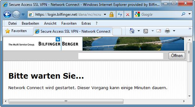 FIRST USE OF BB-ANYWHERE Before VPN connections to the Bilfinger Berger network can be established, BB-anywhere needs to install the client
