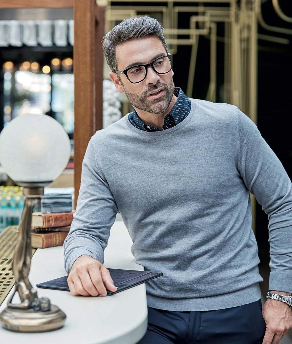 TJ6000 6000 50% Wolle / 50% Polyacryl Mens Crew Neck Sweater DARK GREY (SOLID) LIGHT GREY NAVY Tee Jays Fully fashion Tailor Fit Qualität Italienisches Merino-Acryl