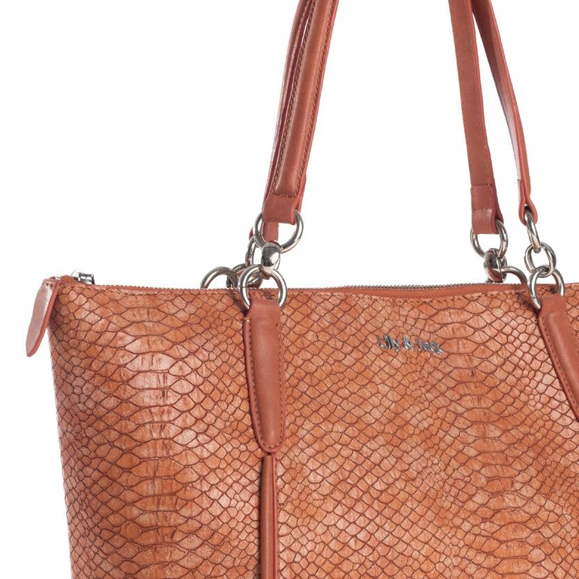 Maße: 40x28x10,5 cm Classic-modern ladies bag in snake leather look with integrated interior