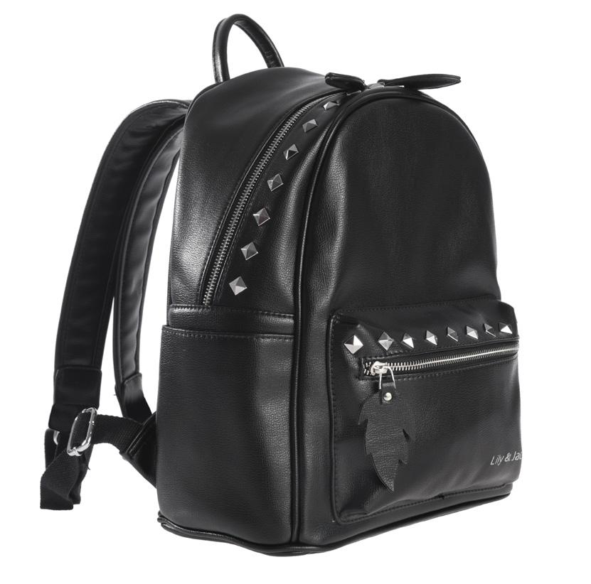 Stylish backpack with silver-colored accessories and integrated Call-Alert-System: Incoming calls are