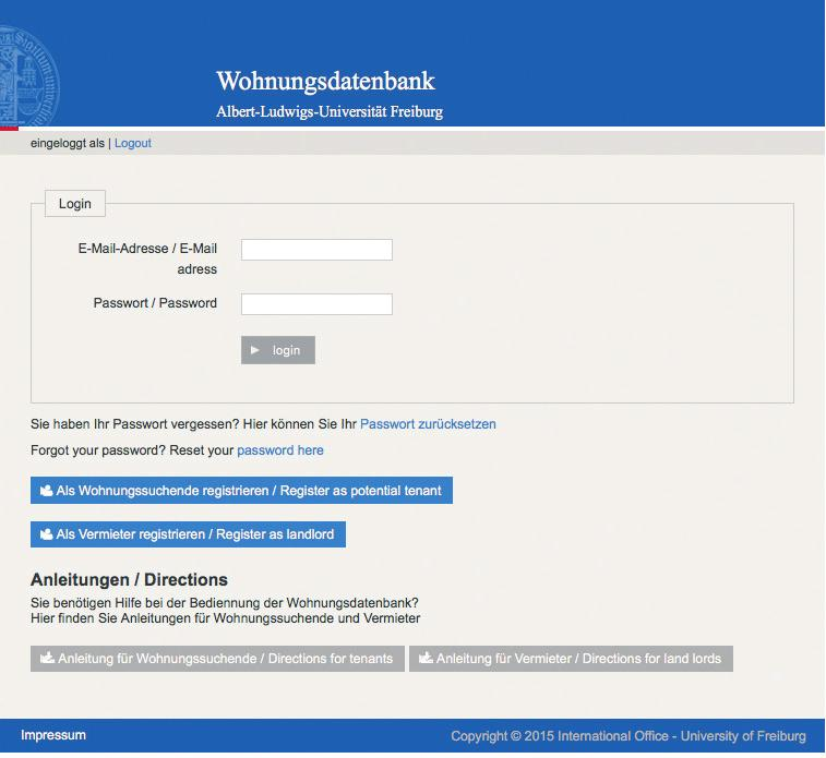 Anleitung zum Erstellen eines Accounts und zum Anlegen von Angeboten Directions for setting up an account and uploading offers http://www.wohnungsdatenbank.uni-freiburg.