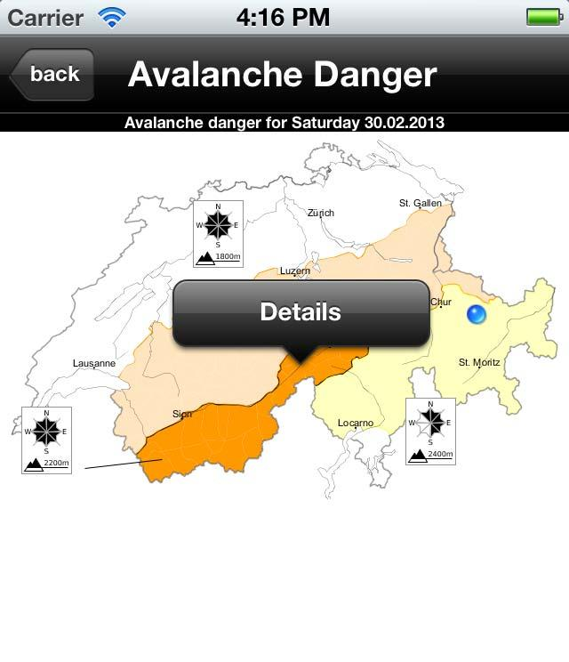 SLF App 'White Risk' First Click: highlights danger region and asks to