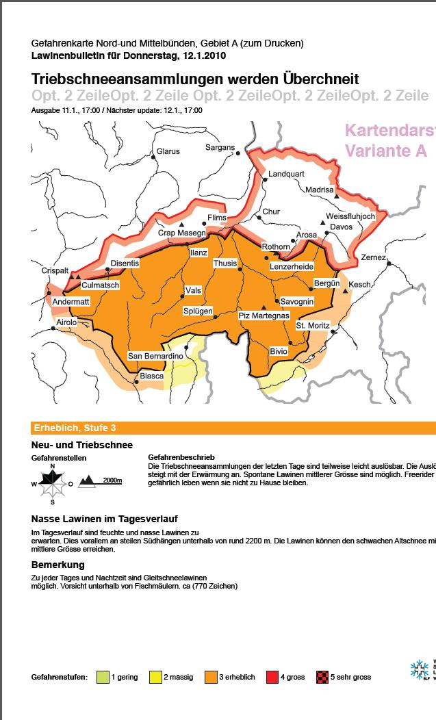 Print products Regional danger map (8 regions) - to post in freeride areas - black & white or