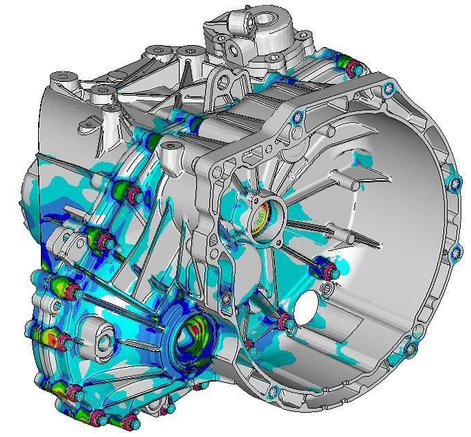 Modeling Base: FEM-model for strength analysis with RADIOSS Modeling details: contact: - Bearing rings with housing - Between