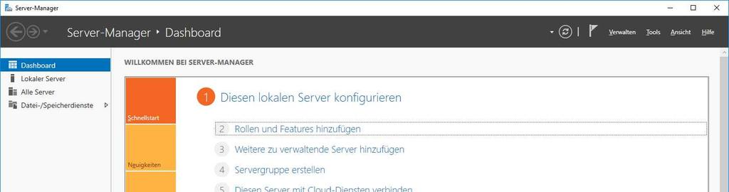 Windows Server 2016 Unter Windows Server 2016 müssten Sie den zuerst den IIS