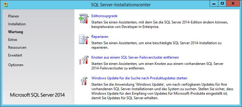 1.3 SQL Server 2014 installieren Bild 1.12 Option Wartung im Installationscenter Unter der Option Extras finden Sie die Systemkonfigurationsprüfung, die schon unter Planen vorhanden war.