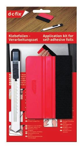 Application kit for self-adhesive and static films With the do-it-yourself kit, this is easy as pie. The useful tools ensure the best possible result quickly and easily.