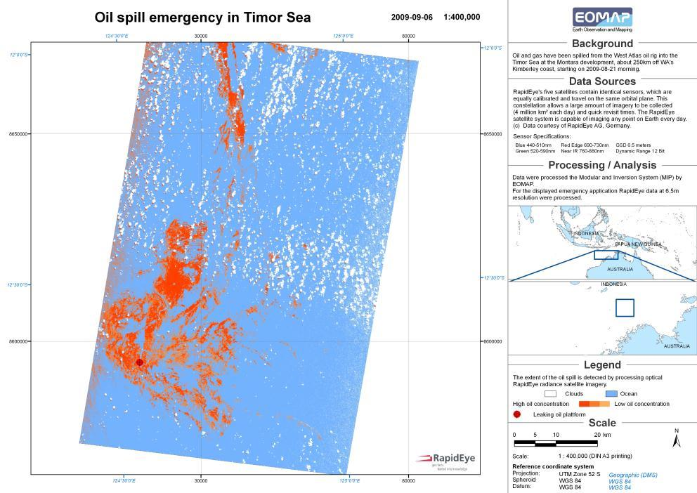 Timor Sea oil spill mapping Drift indication