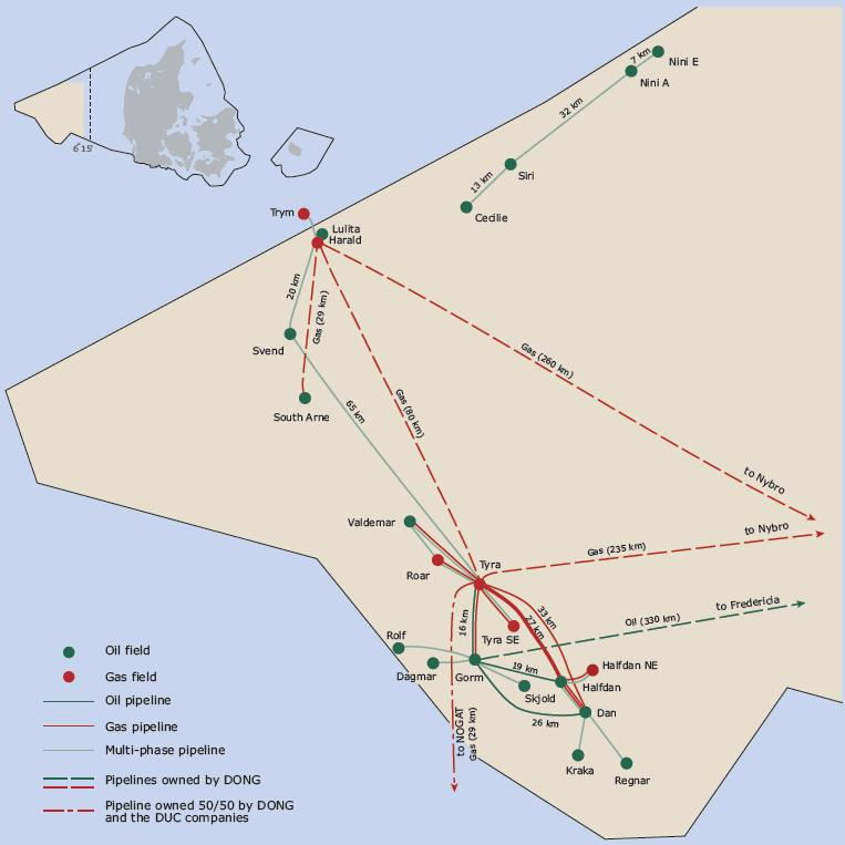 North Sea Danish Oil and Gas Fields Monitored Area June-September 11