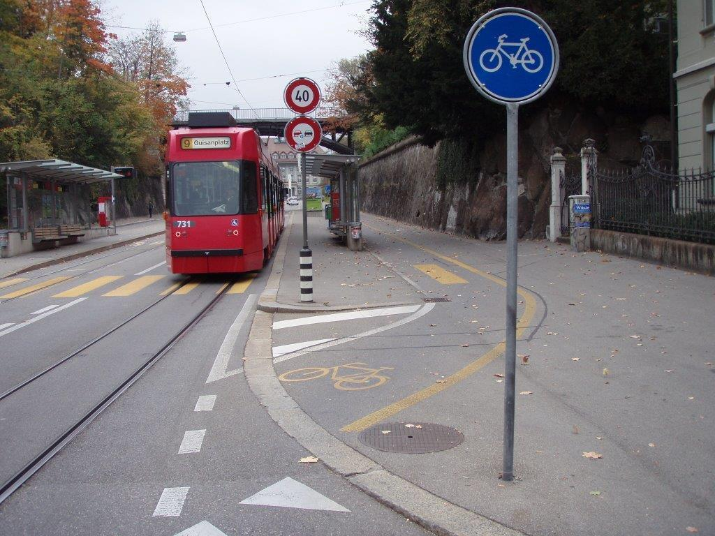 trams and cycling Tram stop cycle way