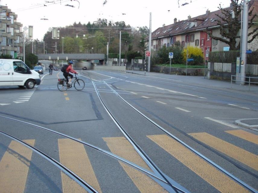 tram tracks and cycling Crossing the tracks can be