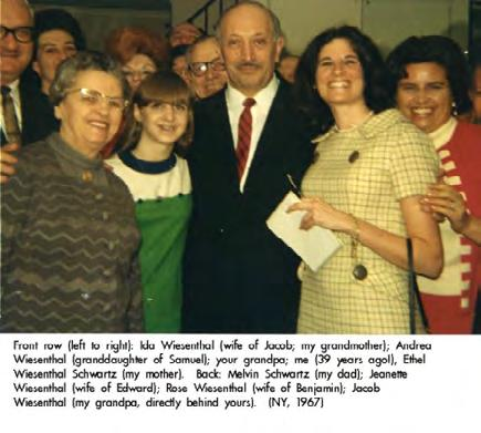 Back: Melvin Schwartz (my dad); Jeanette Wiesenthal (wife of Edward); Rose Wiesenthal (wife of Benjamin); Jacob Wiesenthal (my grandpa, directly