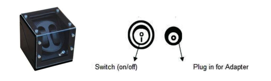 Operation A. Switch and plug diagram behind your watch winder. B. Battery remove the battery cover on the bottom of the unit, and attach 2pcs Size D 1.
