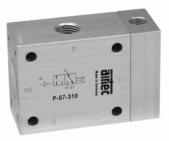 The pressure can be connected at 1 (normally closed) or at 3 (normally open). For manifold mounting see series R-141/n (page 4.156). Valve -320 and -322 is available for use with vacuum ( 0.