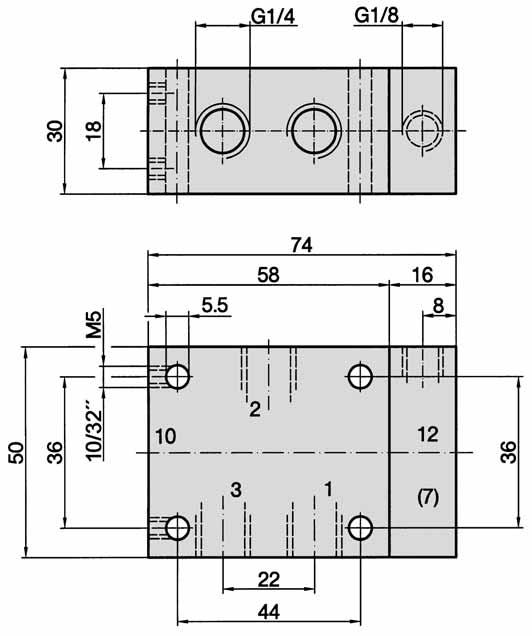 3/2-way, G 1/4, Dimensions for series -310, -311, -312